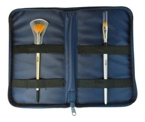 BH-4001 Blue Zipper Brush Carry Case