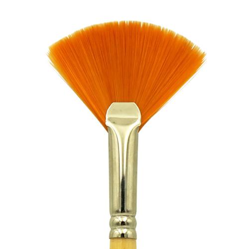 9746 Student Golden Synthetic Fan Brush