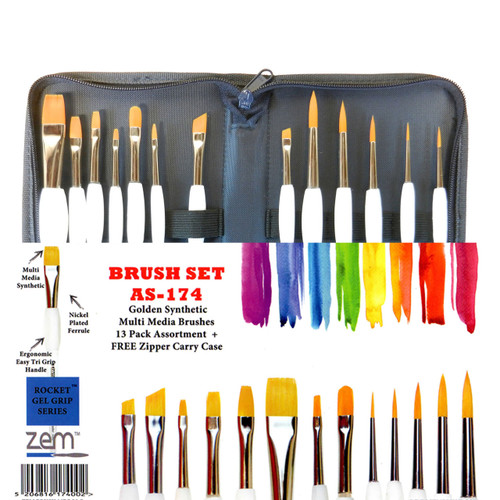 AS-174 Rocket Gel Grip 13pc Brush Set + Case