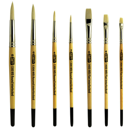 ZEM AS-121 White Hog Artist Bristle Brush Set 7 pcs