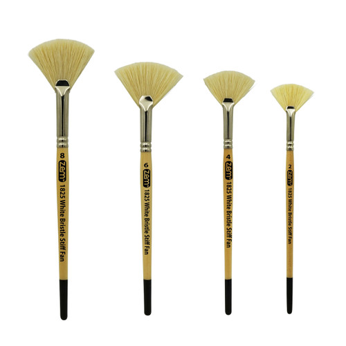 ZEM AS-120 White Stiff Fan Hog Bristle Artist Brush Set