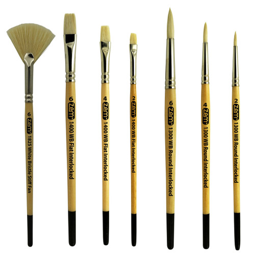 ZEM AS-124 Stiff Hog Bristle Artist Brush Set 7 pcs Combo
