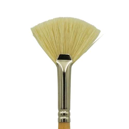 1825 White Hog Bristle Stiff Fan Brush