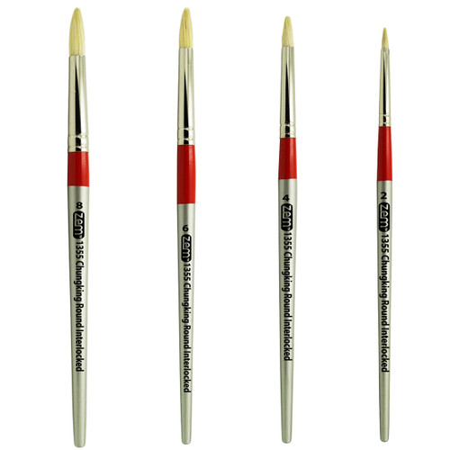 AS-101 Chungking White Hog Bristle Rounds Brush Set