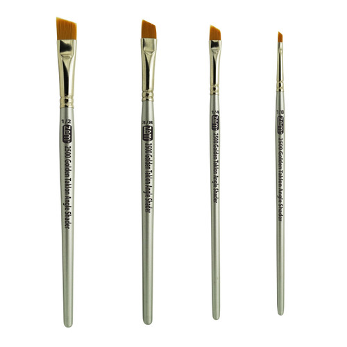AS-25 Golden Taklon Synthetic Angle Shader Brush Set 4 pcs