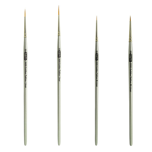 AS-30 Golden Taklon Synthetic Mini & Long Liners Brush Set 4 pcs