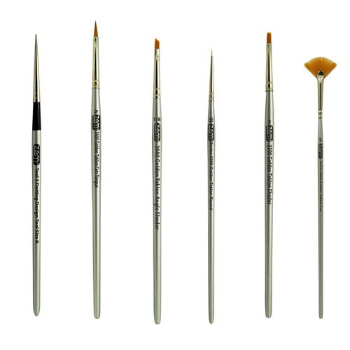 AS-31 Golden Taklon Synthetic Mini Detail Brush & Tool Set