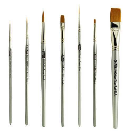 AS-34 Golden Taklon Synthetic Combo Brush Set 7 pcs