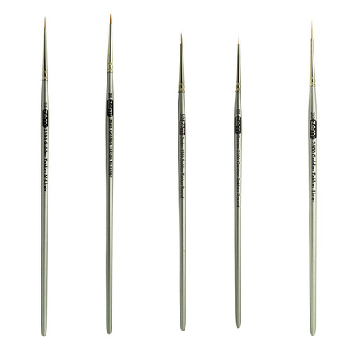 AS-36 Golden Taklon Synthetic Mini Detail Brush Set 5 pcs Sizing Chart