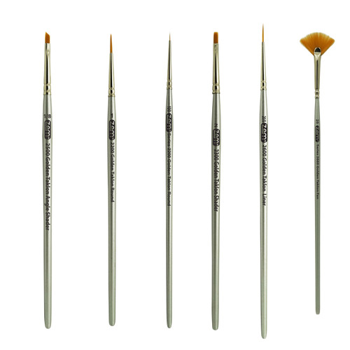 AS-37 Golden Taklon Synthetic Mini Detail Brush Set 6 pcs