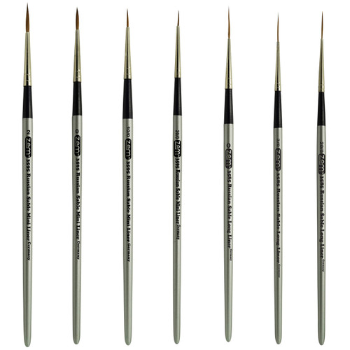 AS-64 Russian Pure Sable Long Liner and Mini Liner Brush Set 7 pcs