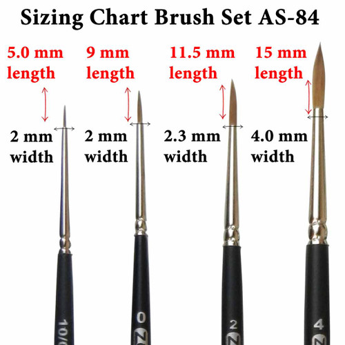 AS-84 Kolinsky Pure Sable Detail Rounds Brush Set Sizing Chart