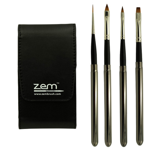 TBS-1 Reversible Brush Brown Synthetic Sable Set w Flip Travel Case 4 pcs