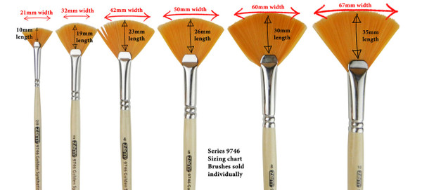 9746 Student Golden Synthetic Fan Brush Sizing Chart