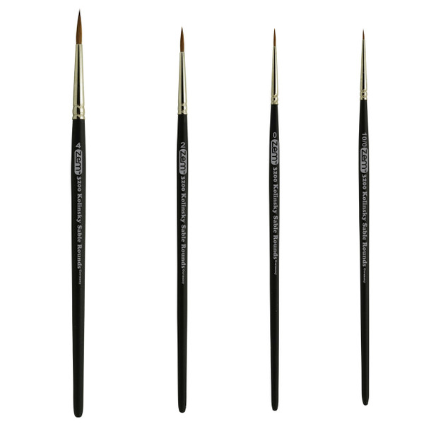 AS-84 Kolinsky Pure Sable Detail Rounds Brush Set 4 pcs