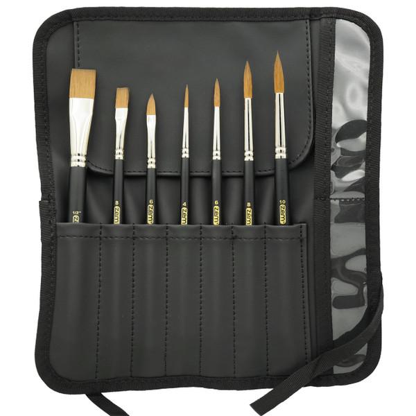 AS-143 Green Sable Synthetics 7pcs Brush Gift Set and Wrap Brush Holder