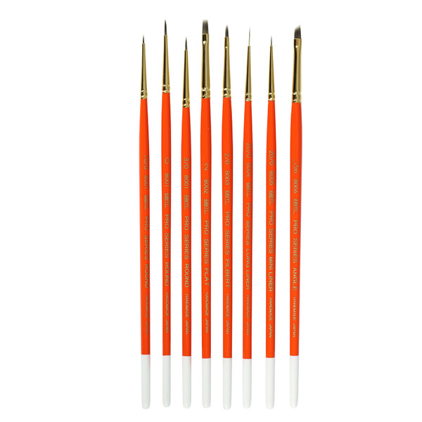 AS-200  PRO 8pcs Miniature  Synthetics  Combo Brush Set 8 pcs