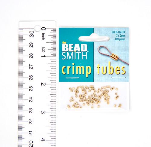 Crimp Tubes 2x2mm  - Gold Plate (100pcs)