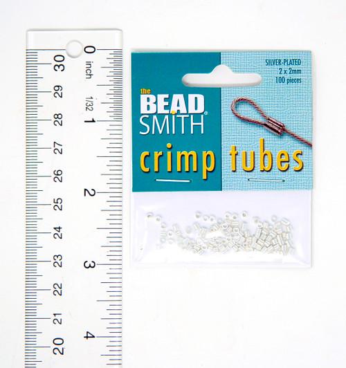 Crimp Tubes 2x2mm  - Silver Plate (100pcs)