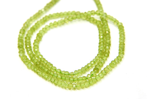 Peridot 3mm Faceted Rondelle Strand