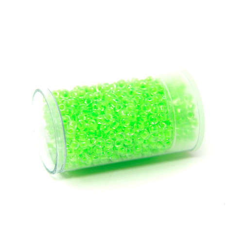 Crystal Electric Lime Lined - Size 8 Pony Beads