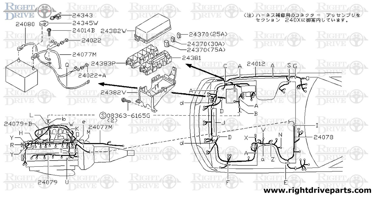 24078 - harness embly,EGI - BNR32 Nissan Skyline GT-R on nissan radio antenna, nissan connectors and pins, nissan coil connectors, nissan headlight diagram, nissan alternator harness, nissan connector catalog, nissan titan tow wire connector,