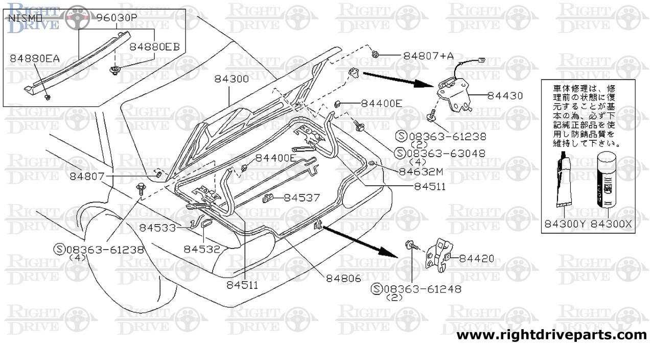 84511 Hinge Assembly Trunk Lid Lh Bnr32 Nissan Skyline Gt R Wiring Harness Toyota