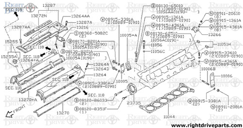 13212 - guide, valve intake - BNR32 Nissan Skyline GT-R