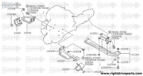 11233 - bracket, engine mounting LH - BNR32 Nissan Skyline GT-R