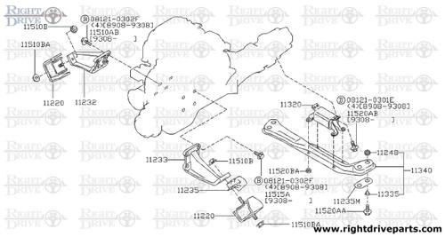11320 - insulator, engine mounting rear - BNR32 Nissan Skyline GT-R