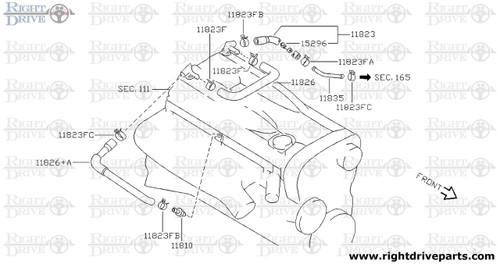 11823 - hose assembly, blow by A - BNR32 Nissan Skyline GT-R
