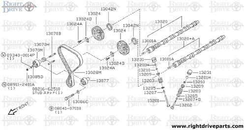 13024A - bolt, sprocket camshaft - BNR32 Nissan Skyline GT-R