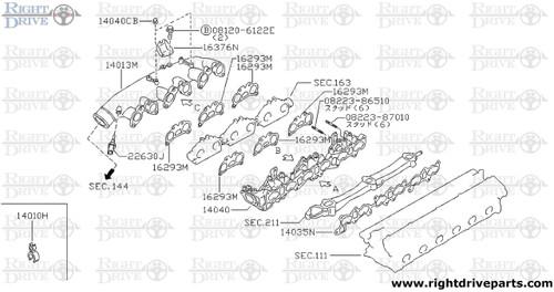 14040BA - pin, dowel - BNR32 Nissan Skyline GT-R
