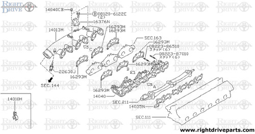 16293M - gasket, throttle chamber - BNR32 Nissan Skyline GT-R