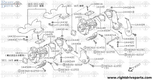 15196+A - gasket, oil turbo charger outlet - BNR32 Nissan Skyline GT-R