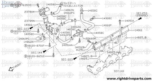 14058C - clamp, hose - BNR32 Nissan Skyline GT-R