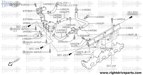 14061 - hose, air regulator to connector - BNR32 Nissan Skyline GT-R