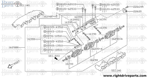 16298 - chamber assembly, throttle - BNR32 Nissan Skyline GT-R