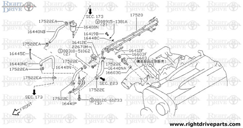 16603F - insulator, injector - BNR32 Nissan Skyline GT-R