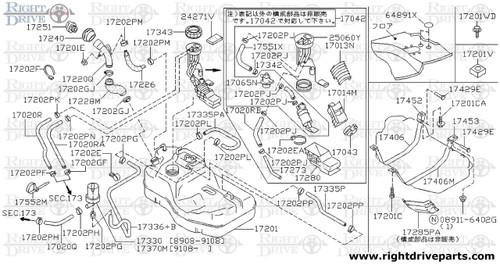 17429E - pin, fuel tank mounting - BNR32 Nissan Skyline GT-R