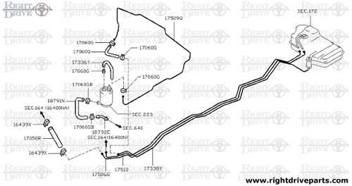 18791N - hose, drain canister - BNR32 Nissan Skyline GT-R