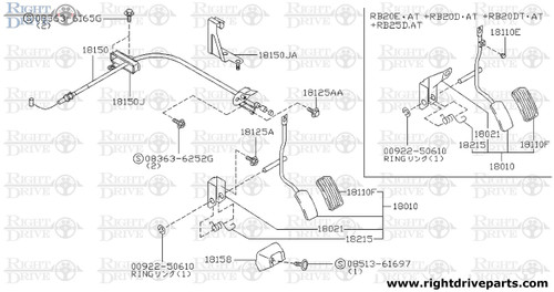 18110E - stopper rubber, accelerator pedal - BNR32 Nissan Skyline GT-R