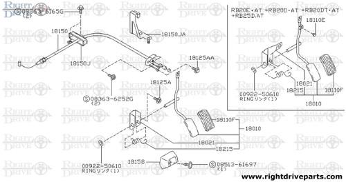 18150 - wire assembly, accelerator - BNR32 Nissan Skyline GT-R