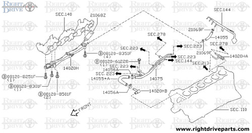 14075 - pipe assembly, heater return front - BNR32 Nissan Skyline GT-R