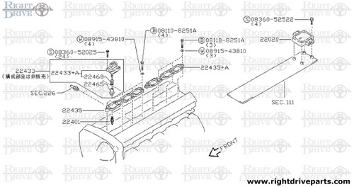 22435 - bracket, ignition coil - BNR32 Nissan Skyline GT-R