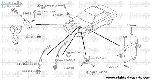 22060P - sensor assembly, knock - BNR32 Nissan Skyline GT-R
