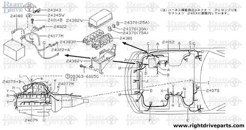 24200C - clip, wiring harness - BNR32 Nissan Skyline GT-R on nissan brakes, nissan radio harness, nissan timing chain, nissan exhaust, nissan lights, nissan speedometer, nissan water pump, nissan fuel pump, nissan headlights, nissan fuse, nissan throttle body, nissan timing belt, nissan ecu, nissan transformer, nissan engine, nissan body harness, nissan radiator, nissan alternator, nissan oil filter, nissan starter,