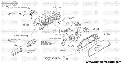 24811 - housing, meter combination lower - BNR32 Nissan Skyline GT-R