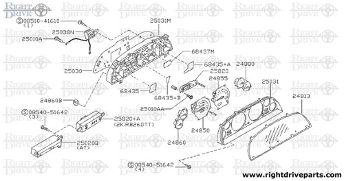 25031M - housing, meter combination lower - BNR32 Nissan Skyline GT-R