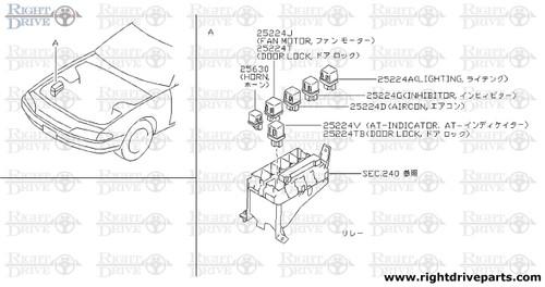 25233RA - bracket, relay - BNR32 Nissan Skyline GT-R